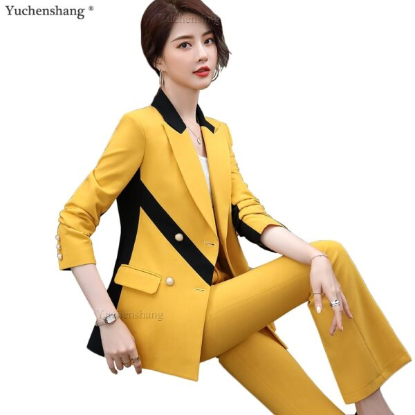 Women Stripe Pant Suit Pink Yellow Blazer