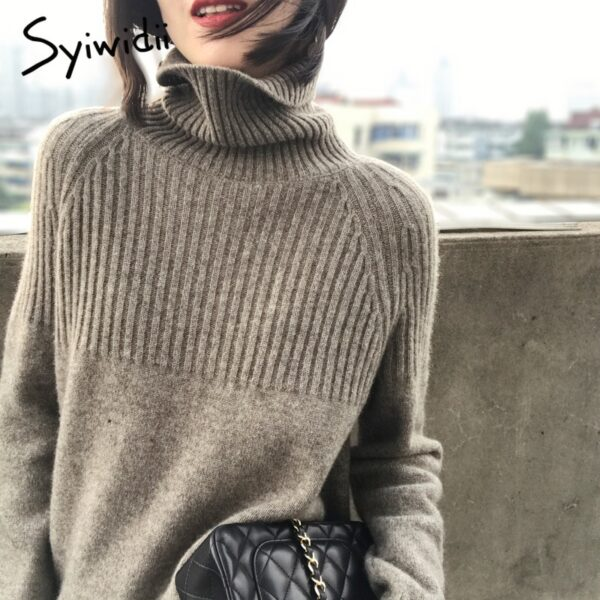 Women Turtleneck Striped Pullovers Sweater
