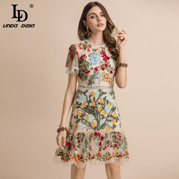 Floral Embroidery Summer Midi Dresses