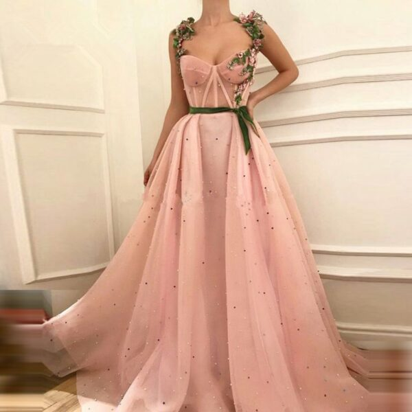 Rose Coral Prom Embroidery Dress