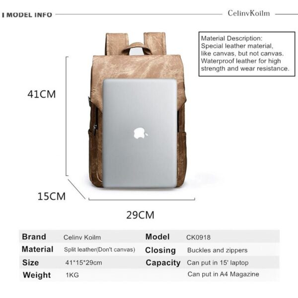 Men Laptop School Leather Backpacks