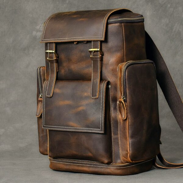 Men's Leather Shoulder Travel Backpack