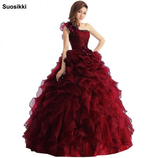 One Shoulder Ball Gown Prom Dresses