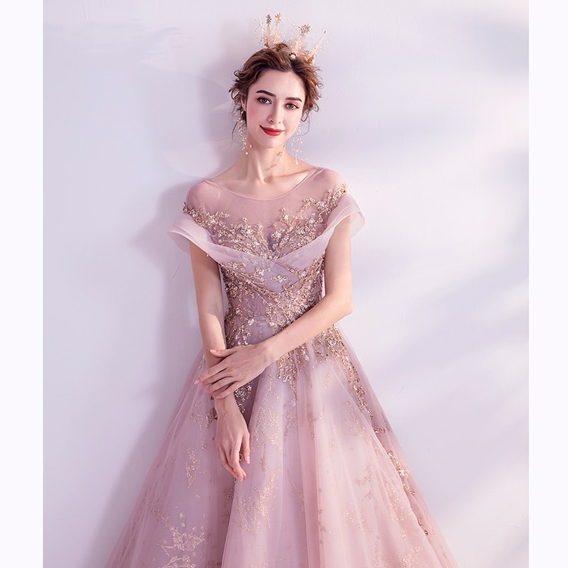 Pink Colour Prom Party Dress
